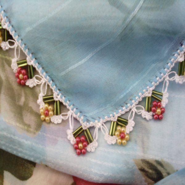 Turkish #oya with bugle beads