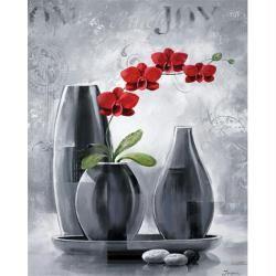 Image 3D Fleur - Orchidée rouge - centre triptyque 40 x 50 cm