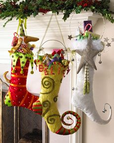 Elf Stockings. Tutorial on site. NO TUTORIAL!  Teach me to look 1st EVERY time LOL! I know that all you Artsy-Craftsy Ladies can make a pattern and create lovely unique stockings for your loved ones.