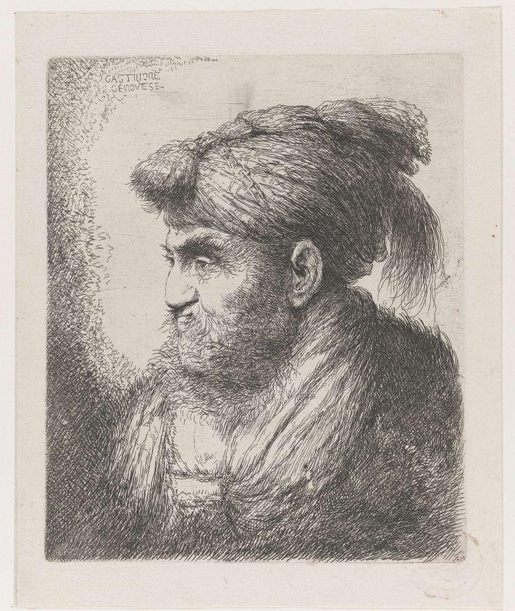 Giovanni Benedetto Castiglione | Hoofd van een man met een tulband met kwast, Giovanni Benedetto Castiglione, 1645 - 1650 | Een hoofd van een man oude man met baard, en profil. Hij draagt een tulband met een kwast aan de voorzijde. Prent uit een serie van zes.