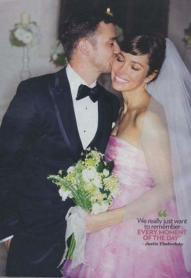 JustinTimberlake and Jessica Biel: Giambattista Valli's wedding dress - I can't believe pink would be so beautiful!!!