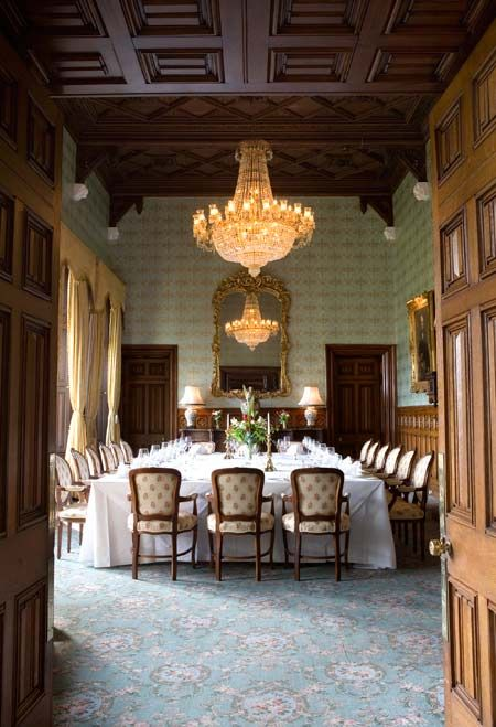 Ashford Castle. Luxury hotel in Ireland.  This dining room is beatuimous.
