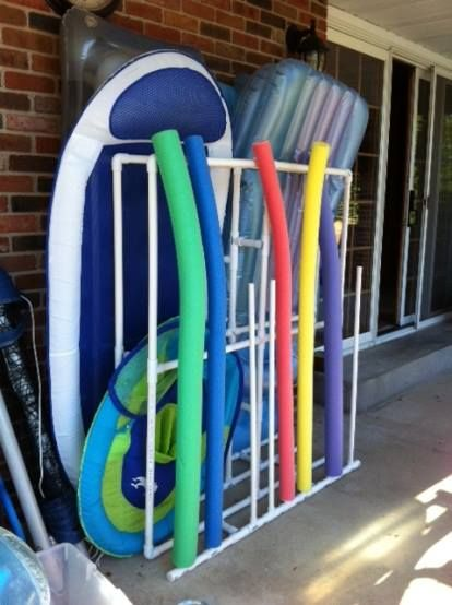 pvc pool float storage but needs something for beach balls.