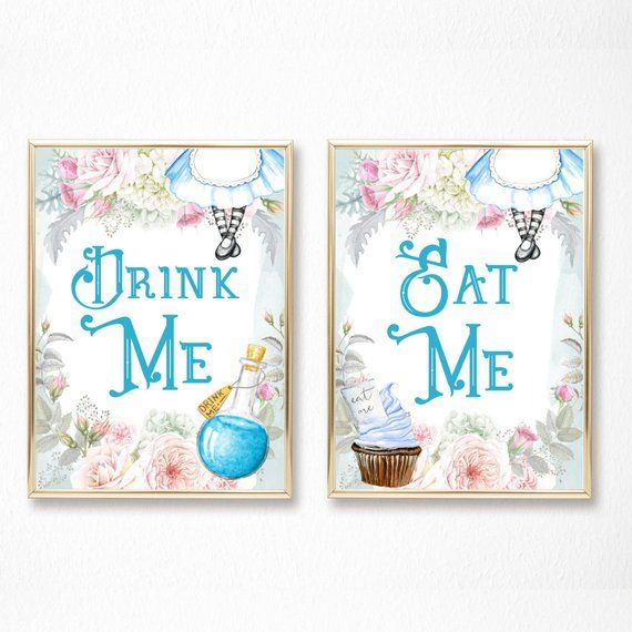alice in Wonderland Party Signs birthday//Wedding decorations