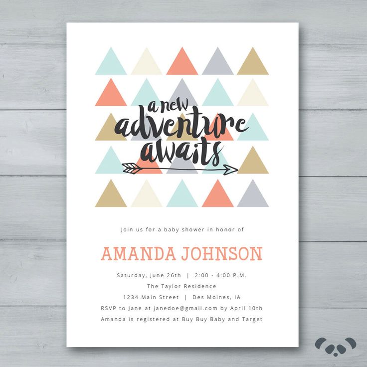 A New Adventure Awaits Baby Shower Invitation | Triangles Arrow Baby Shower Invite | Gender Neutral Baby Shower Invite by PandafunkCreations on Etsy https://www.etsy.com/listing/277039990/a-new-adventure-awaits-baby-shower