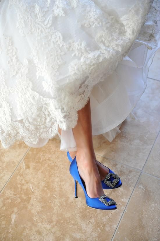 """Like the embellishment but perhaps just a bit too blue?   Gorgeous Manolo Blahnik shoes work as the perfect """"something blue!"""""""