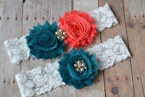Coral Teal Wedding Garter Bridal Garter Set by ContessaGarters, $24.99 - perfect