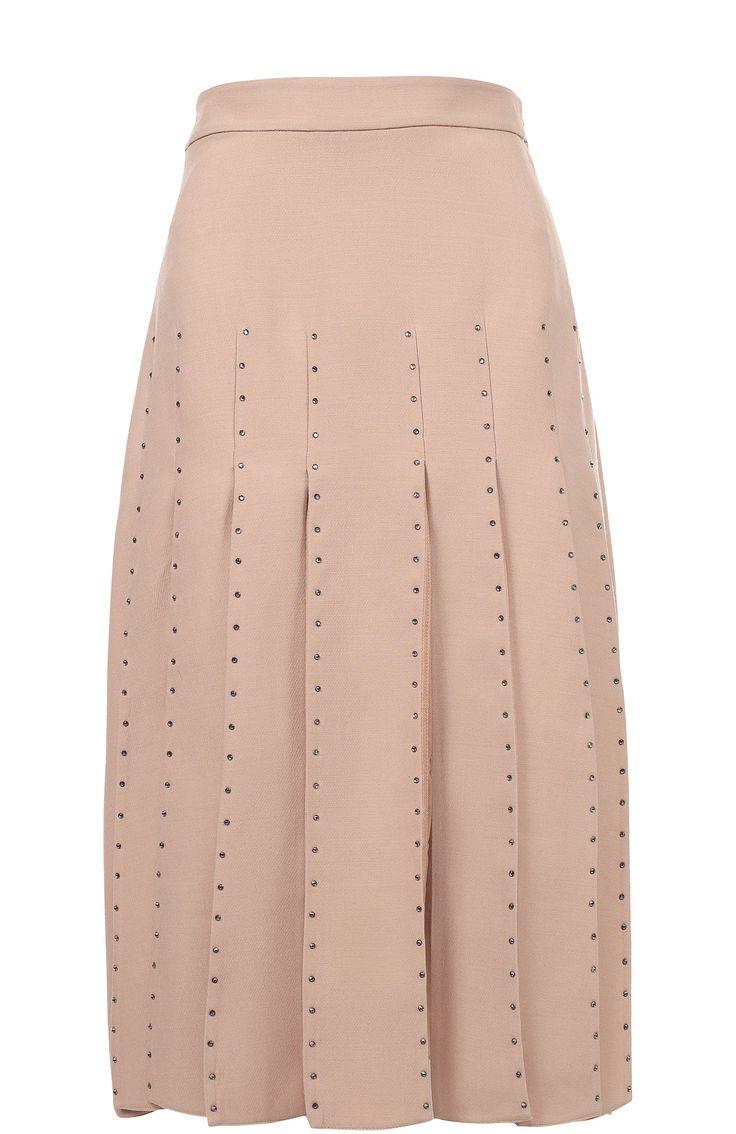 Женская розовая юбка-миди со стразами и полупрозрачными вставками Valentino, сезон FW 16/17, арт. LB0RA1V1/1CF купить в ЦУМ | Фото №1