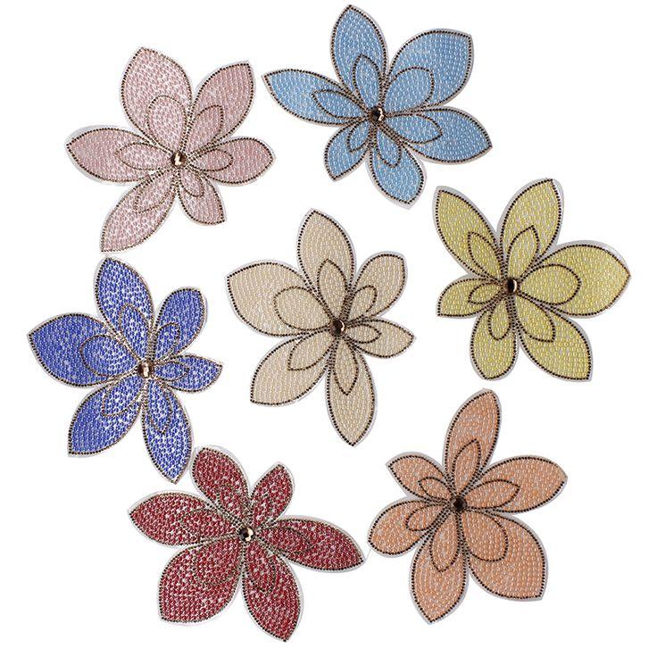 7 stuk Kralen Kristal Bloem Hot Fix Ijzer op Doek Patches Decoratie Kant Motieven Applique Accessoires voor Ambachtelijke Ontwerp TH148