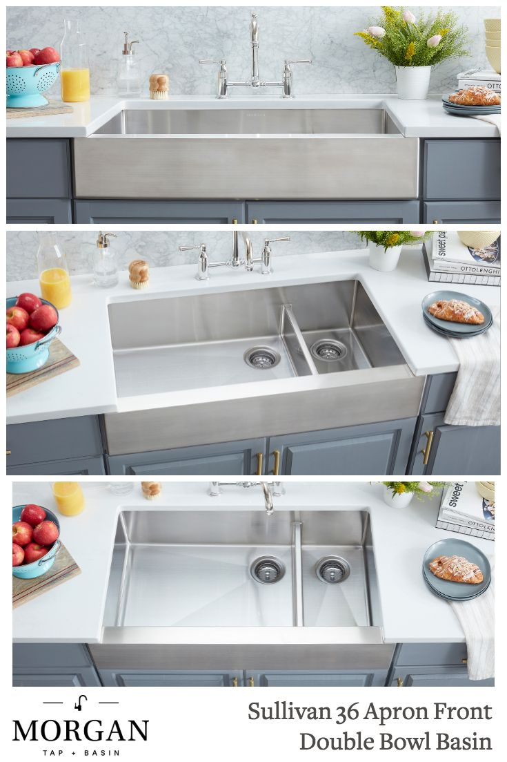 Sullivan 36 Apron Front Double Bowl Basin With Images Farmhouse Sink Stainless Steel Farmhouse Sink Kitchen Remodel Small