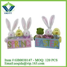 Wooden bunny Easter decoration storage box / wholesale easter baskets