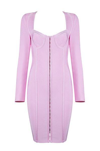 Long Sleeve Low Neck Mini Pink Bandage Dress