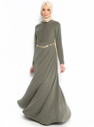 Zincir Kolyeli Elbise - Haki - N K Collection :: Zinde Market