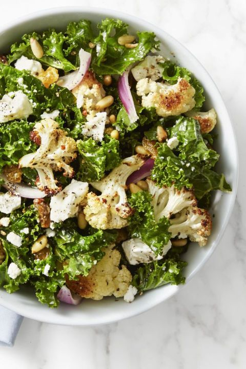 Get your crunch on with this nutty green bowl of goodness.  Get the recipe for Kale and Roasted Cauliflower Salad »