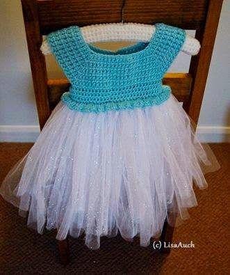 Free Crochet Patterns and Designs by LisaAuch: Crochet Top Tutu Dress for an Older Girl (Frozen Inspired Elsa Tutu Dress Up)  ༺✿Teresa Restegui http://www.pinterest.com/teretegui/✿༻