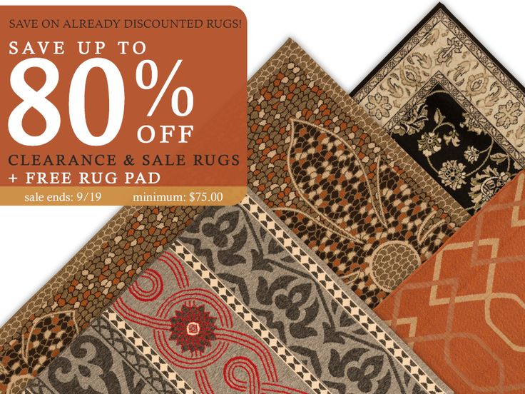 Get additional 10% Off on All Sale and Clearance Items + Free Contemporary Rug Pad!!  Use Code: 2016SALE Minimum Purchase: $75.00 Sale Ends: 9/19/2016  https://www.naturalarearugs.com/clearance-sale.php?order=saleoff&sort=desc