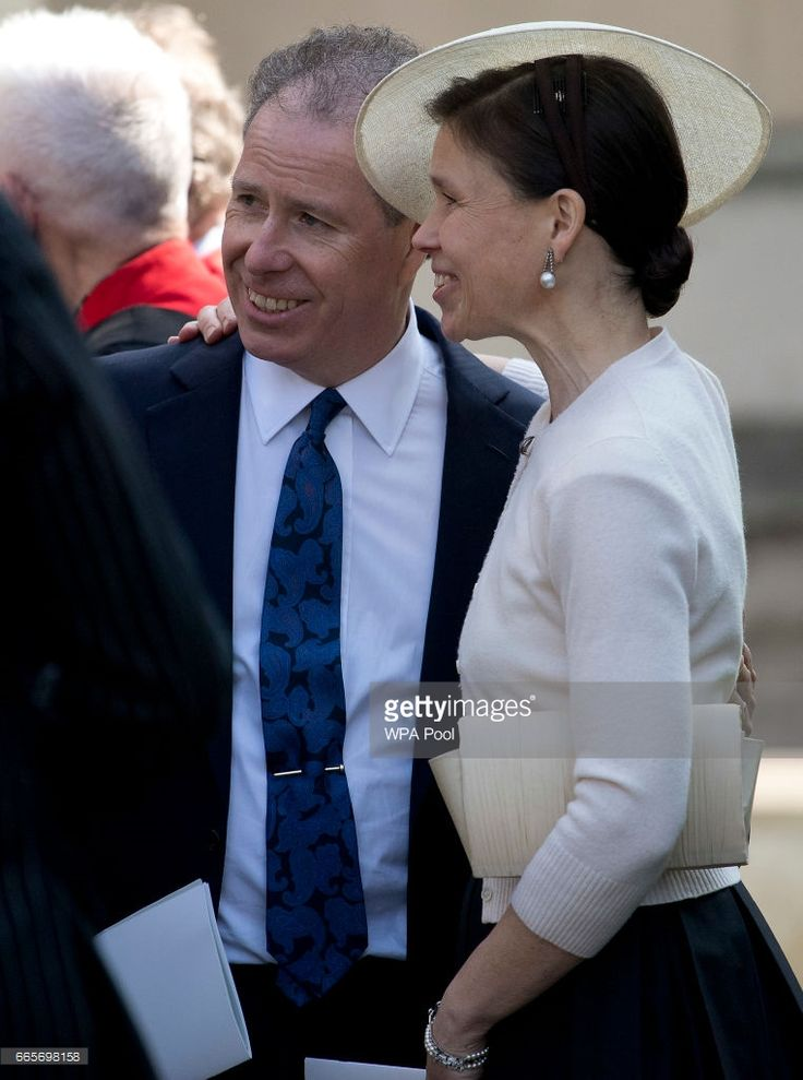 David Armstrong-Jones and his sister Lady Sarah Chatto stand together as they leave a Service of Thanksgiving for the life and work of Lord Snowdon at Westminster Abbey on April 7, 2017 in London, United Kingdom.