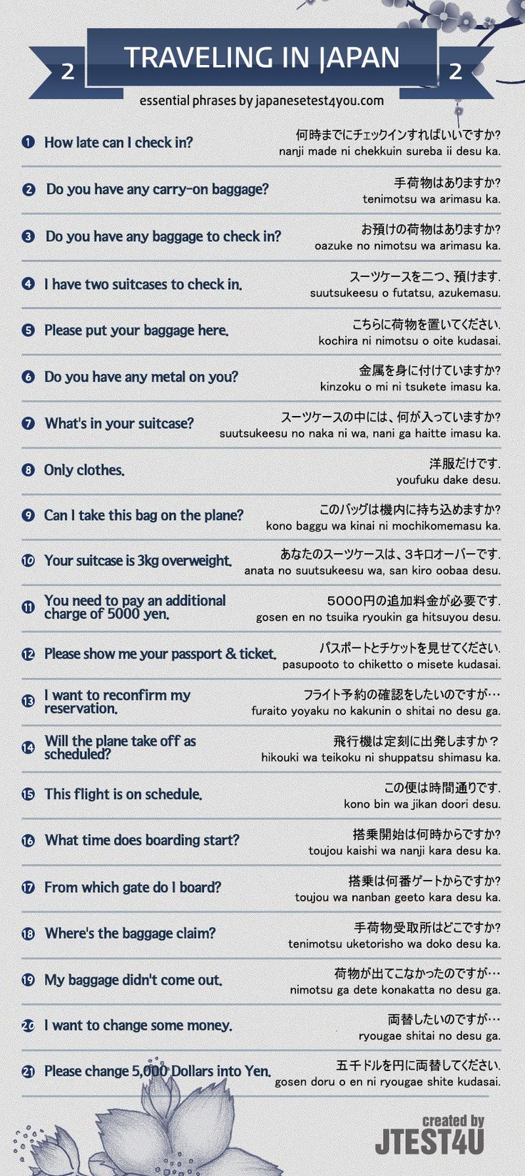 Essential Japanese phrases for traveling in Japan part 2. http://japanesetest4you.com/infographic-essential-japanese-phrases-for-traveling-part-2/