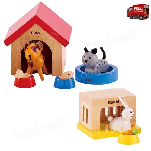 Family-Pets-Set-Toy-Wooden-Dollhouse-Animals-Cat-Bunny-Puppy-Play-Children