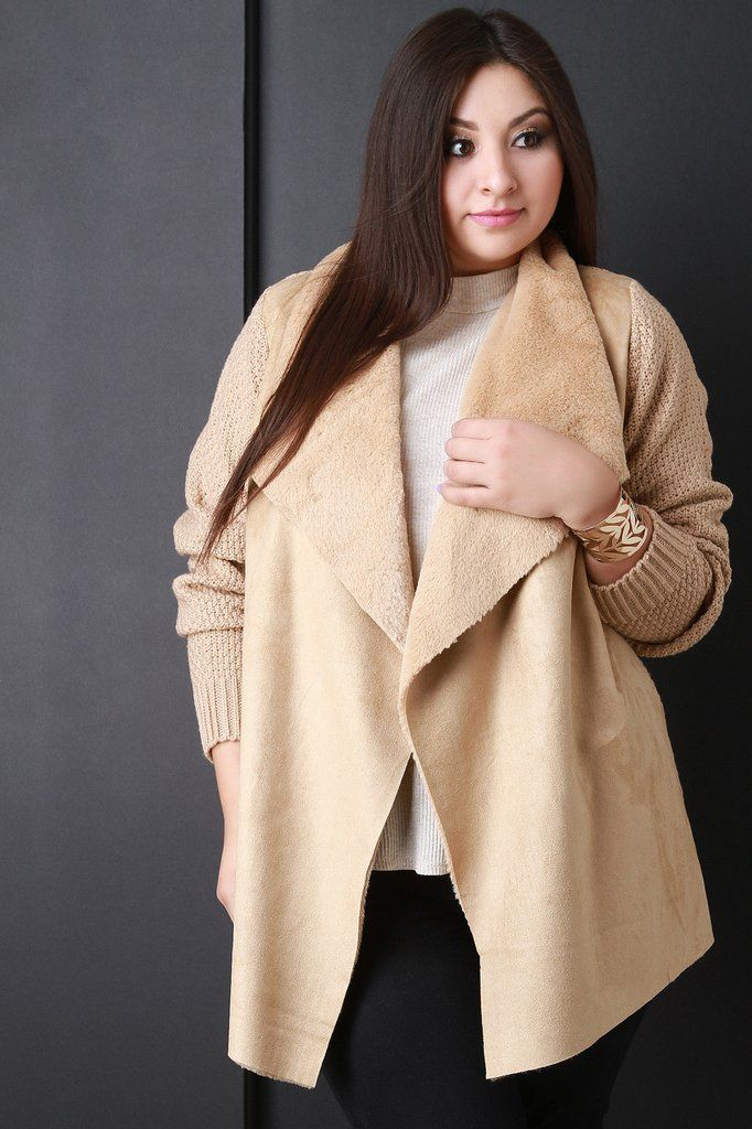 Faux Fur Draped Collar Knitted Sweater