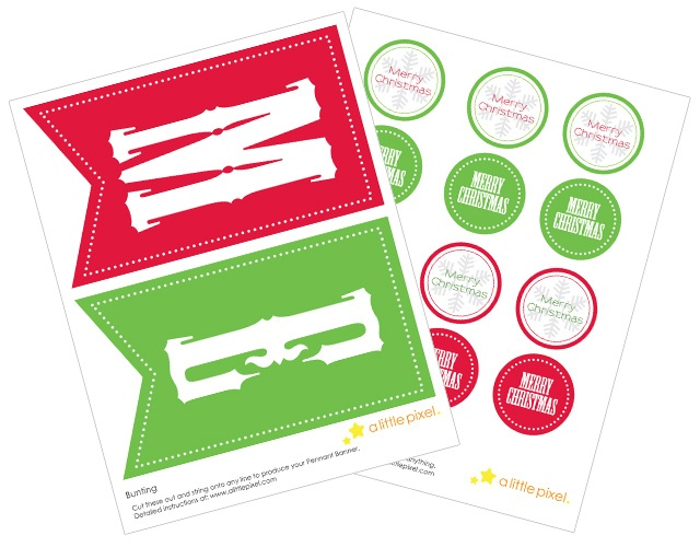 """Free Christmas and Holiday Banners with matching free 2"""" Party circles   A Little Pixel"""