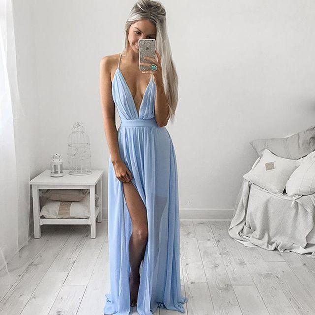 Don é céu azul chiffon prom vestidos longos vestidos de noiva sexy 2016 plissados slit cruz de volta até o chão evening dress