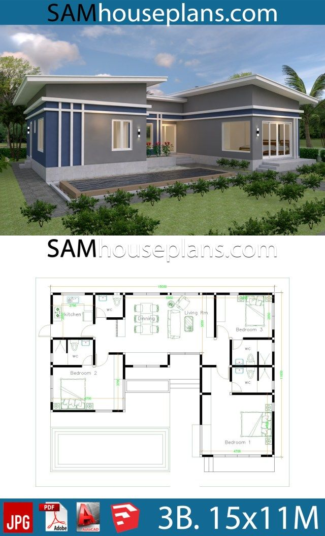 House Plans Idea 17x13 With 3 Bedrooms Slope Roof Sam House Plans Architectural House Plans Small House Design Plans House Plans Mansion
