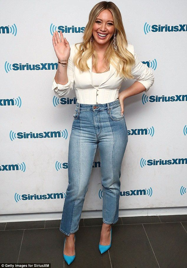 Promotional tour: Hilary Duff, 29, visited Sirius XM on Tuesday to promote her millennial-...
