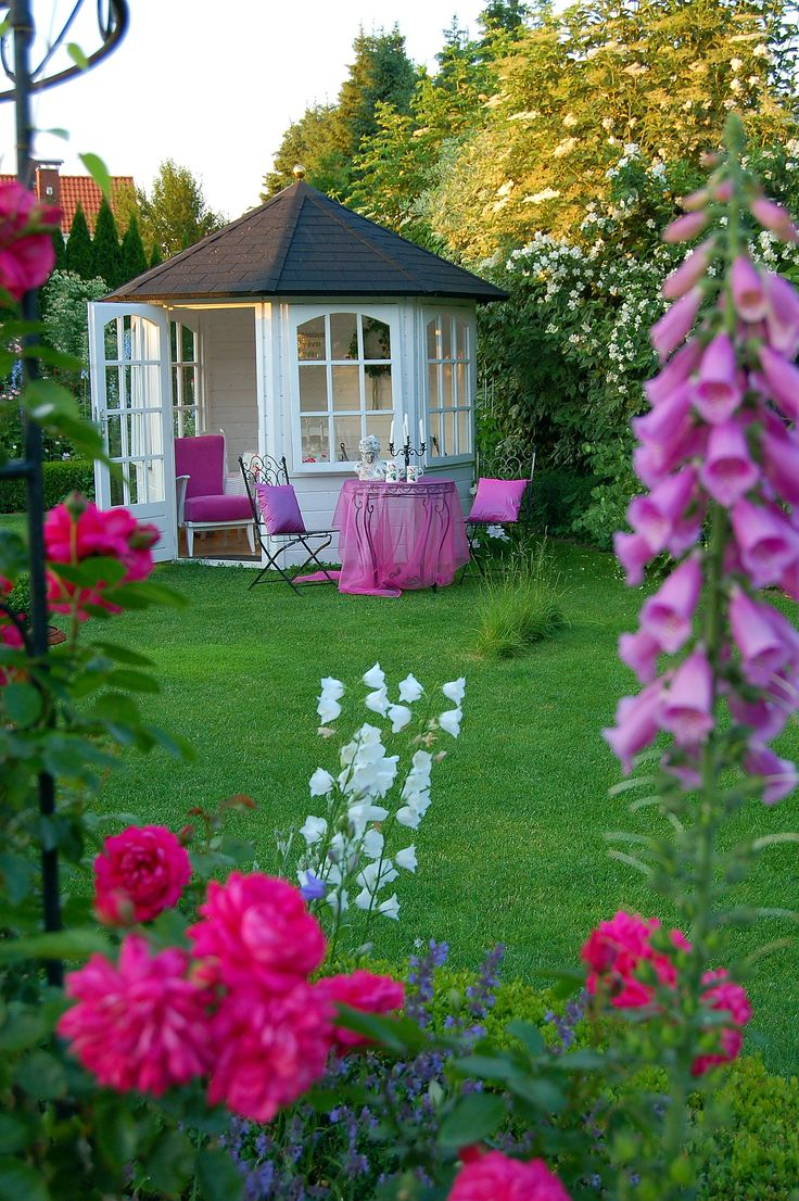 summer house in rose garden