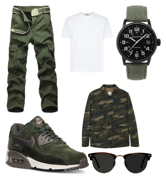 """""""Army inspired outfit for AirMax 90's"""" by mihai-cosmin on Polyvore featuring NIKE, Szanto, MANGO, Ace, men's fashion and menswear"""