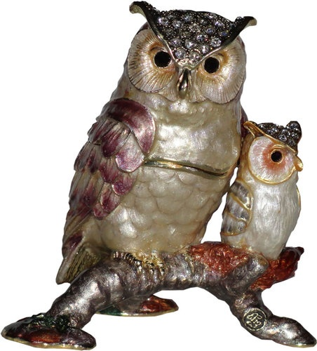Owl And Baby Enamelled Trinket Box Jewelery INCLUDES Necklace and Pendant NIB