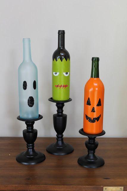 Halloween Wine Bottles, so crafty.