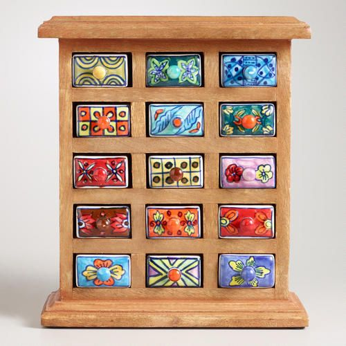 This brightly colored decorative wood Handmade Ceramic-Drawer Wood Chest creates the perfect way to store jewelry, buttons or other smaller items. Ceramic drawers are hand-painted and glazed by artisans in India, using a process that takes over eighteen hours to complete. Available at Cost Plus World Market >>#WorldMarket #BestExoticMarigold Sweepstakes  #LoveBlooms