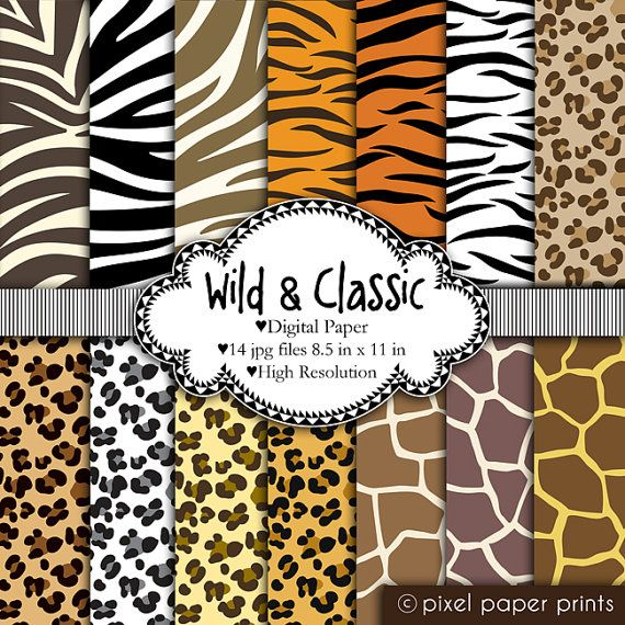 wild classic animal prints digital paper set leopard zebra giraffe tiger - Animal Pictures To Print Free