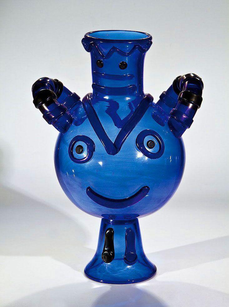 Pablo Picasso, Unique Original Glass Sculpture, Blue Vase, 1962, Signed.