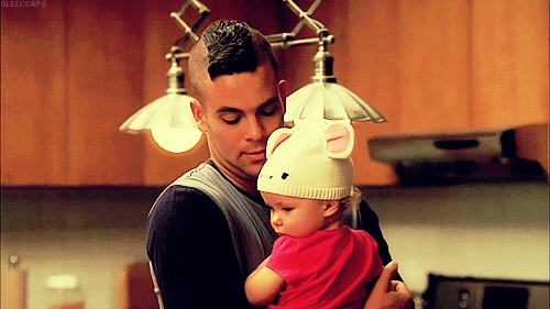 Puck and him & Quinn's baby Beth :') | Glee! | Pinterest ...
