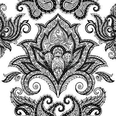 paisley | BLACK Bandana scarf with WHITE square Paisley pattern