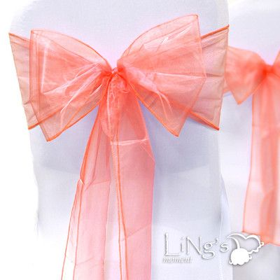 100 Pcs 8 x 108 Coral Wedding Bridal Party Organza Chair Sash Bow Decoration | eBay