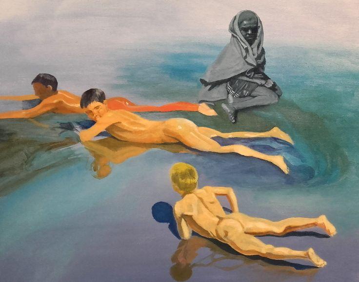 """""""Niños en la playa"""", homenaje a Joaquín Sorolla. Acrílico sobre cartón entelado. (2015)"""