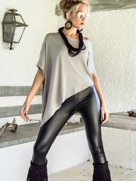 Silver Gray Asymmetric Top Blouse  / Gray Loose Top Blouse  / Asymmetric Plus Size Blouse / #35131