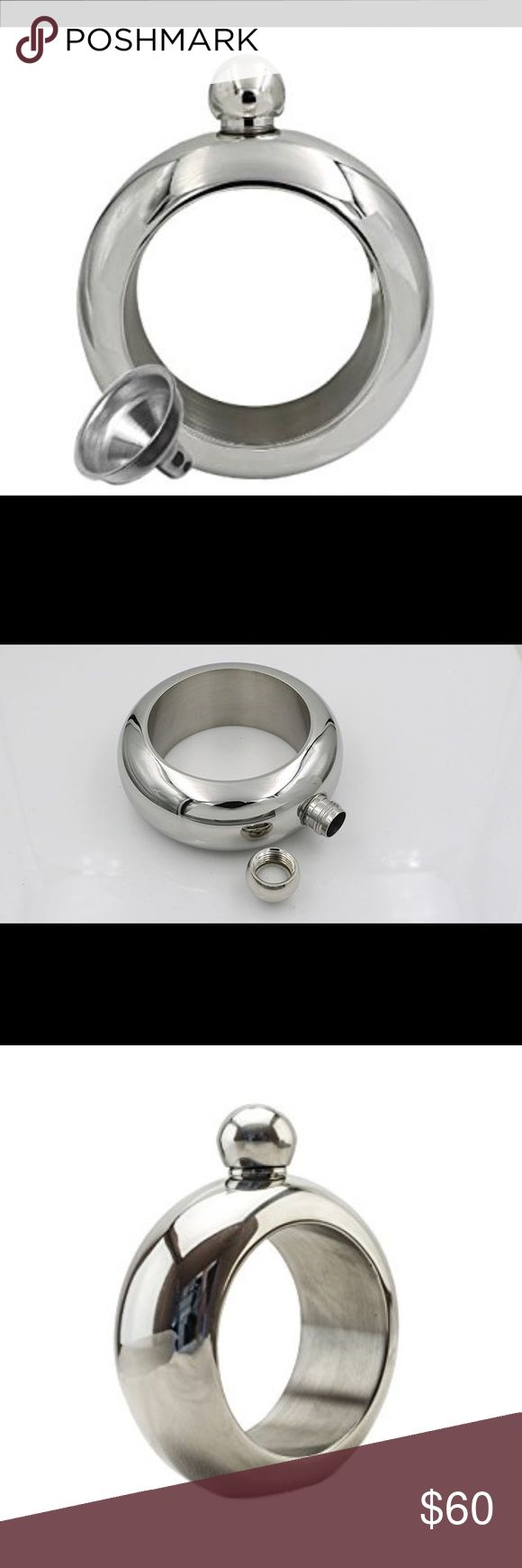 🔥Hot🔥Silver Flask Bracelet with funnel Silver flask bangle bracelet with funnel included. Holds 3oz of liquid. Price Firm. Jewelry Bracelets