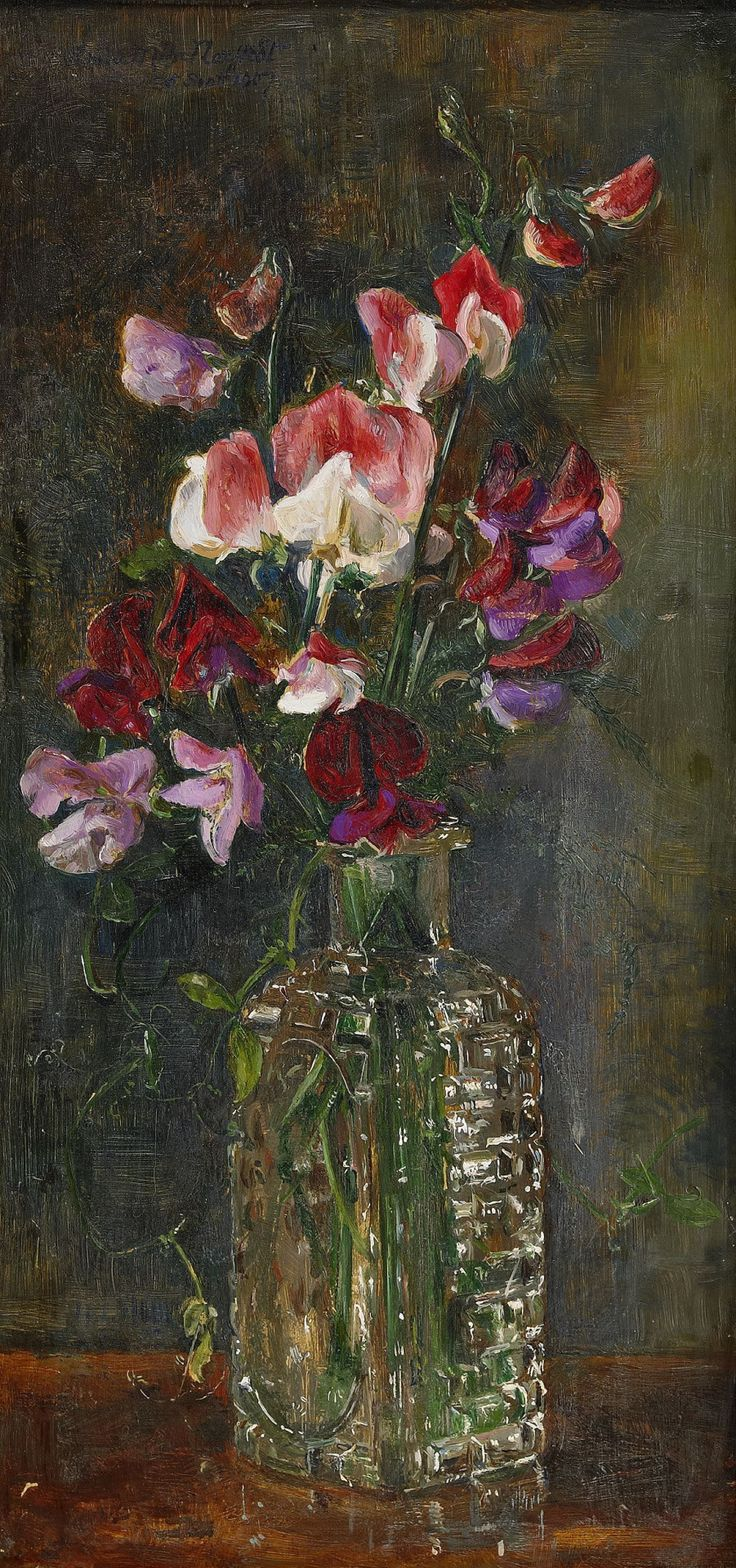 "pintoras: "" Anna Munthe-Norstedt (Swedish, 1854 - 1936): Still life with sweet peas (1907) (via Stockholms Auktionsverk) """