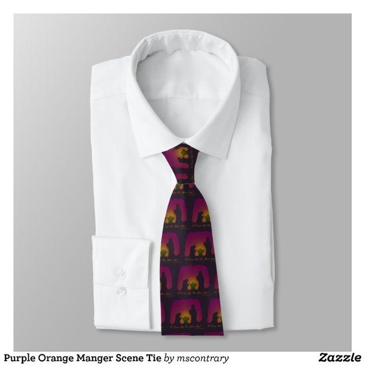 Purple Orange Manger Scene Tie