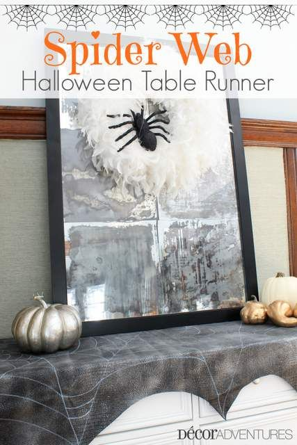 Make a spooky Spider Web Table Runner with a few craft supplies and fabric.
