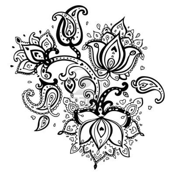 Paisley ornament   Lotus flower  Vector illustration isolated  Stock Photo - 18516068