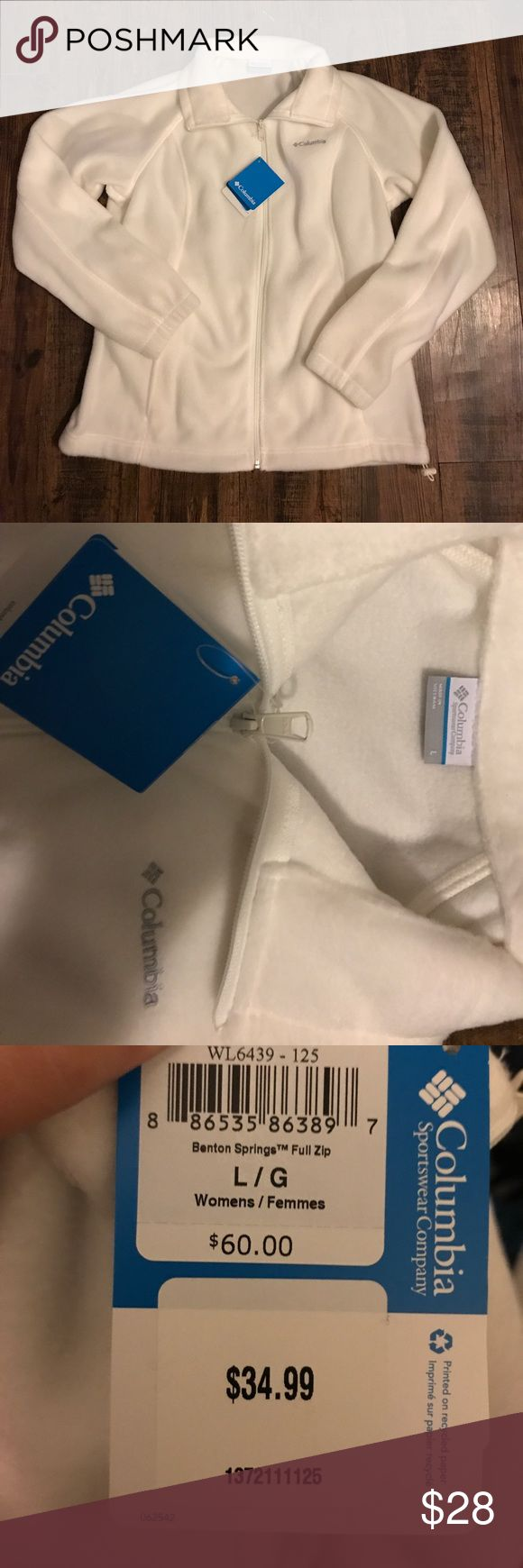 Women's White Fleece Columbia Jacket LG NWT Brand new with ...