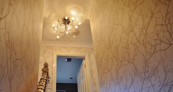 Add interest to #hallway #stairs #landing #wallpaper #neutrals #wood