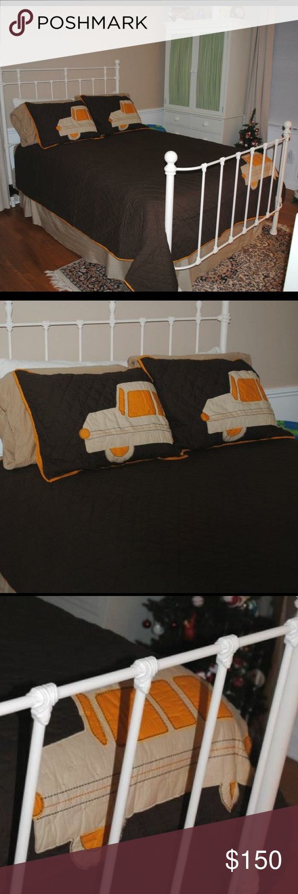 Pottery Barn Kids Bedding and Pillow Shams Potter Barn Kids quilted quilt and pillow shams with truck detail. Fits a standard/full size bed. In excellent condition. Has matching third pillow sham. The colors are brown, tan, and orange. Pottery Barn Kids Other