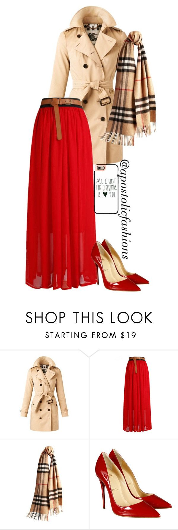 """Apostolic Fashions #906"" by apostolicfashions on Polyvore featuring Burberry, Christian Louboutin and Casetify"