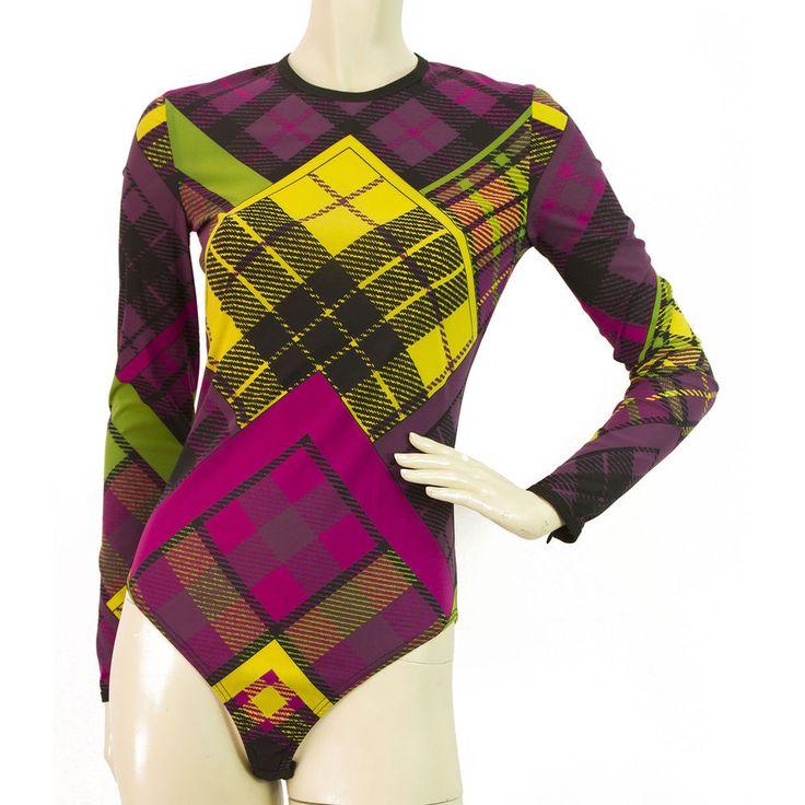 VINTAGE Gianni Versace Plaid leotard body warmer Body Suit Longsleeve - Sz42 #gianniversace #bodysuitleotard